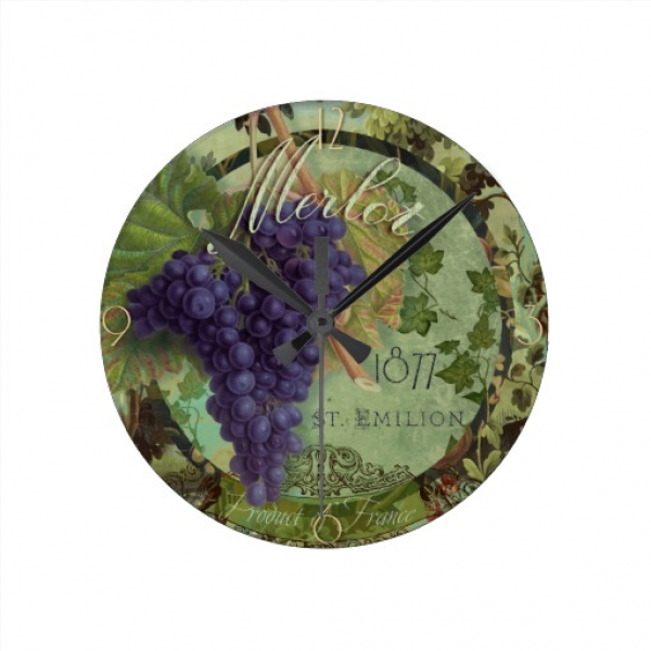 Merlot Grapes Wine Vintage Label Wall Clock | Zazzle
