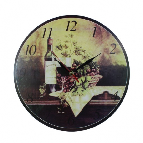 ... Chic MDF Red Wine Bottle and Grapes Scene Vintage Style Wall Clock