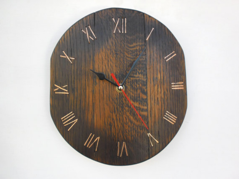 wooden wall clock from the old wine barrel by ThirdCloudToTheLeft