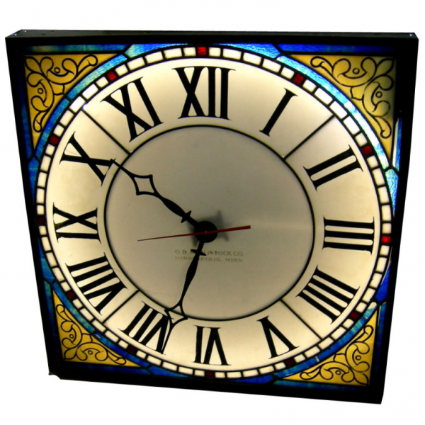 Illuminated Stained Glass Wall Clock by O.B. McClintock at 1stdibs