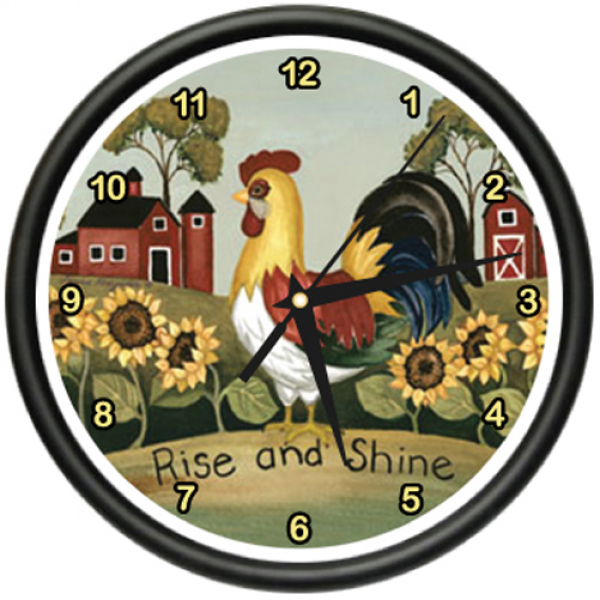 Rooster Wall Clock Farmer Kitchen Home Bird Rise Shine | eBay