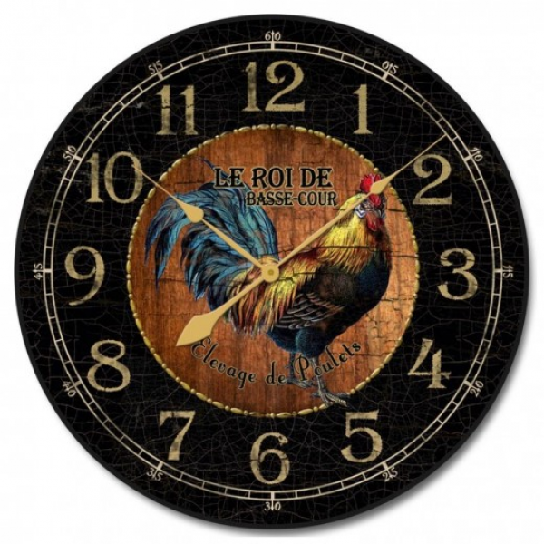 Black & Wood Rooster Wall Clock 12-48