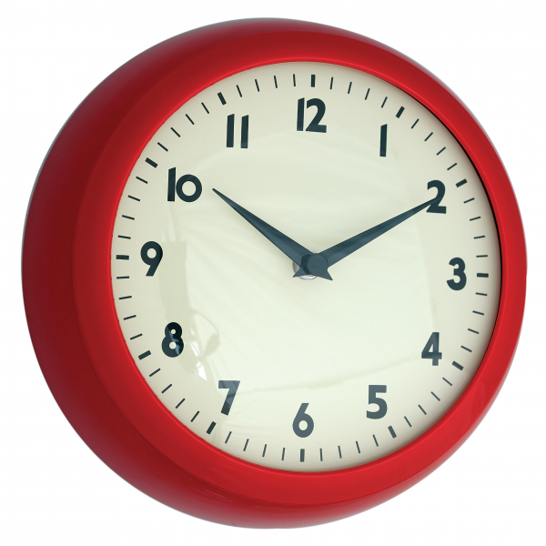 Details about dotcomgiftshop RED RETRO KITCHEN WALL CLOCK