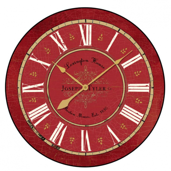 click to enlarge image s this large vintage red wall clock has a ...