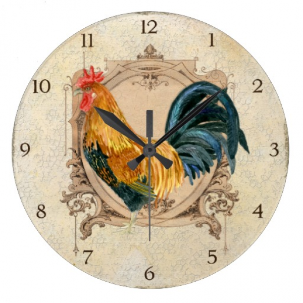Vintage Style French Country Rustic Barn Rooster Wall Clocks | Zazzle