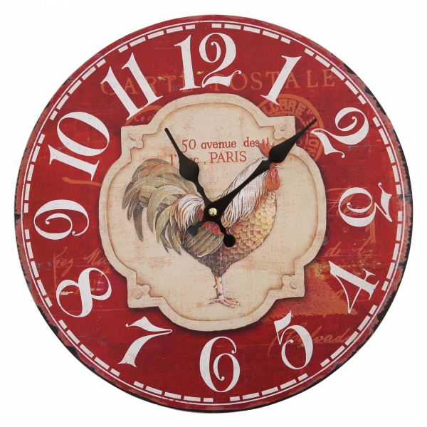 Vintage French Paris Rooster Chicken Wall Clocks-Decor Kitchen Cafe