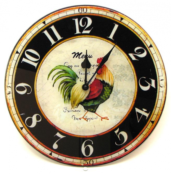 Details about Glass Rooster Wall Clock Kitchen Vintage Farm 12 Round ...