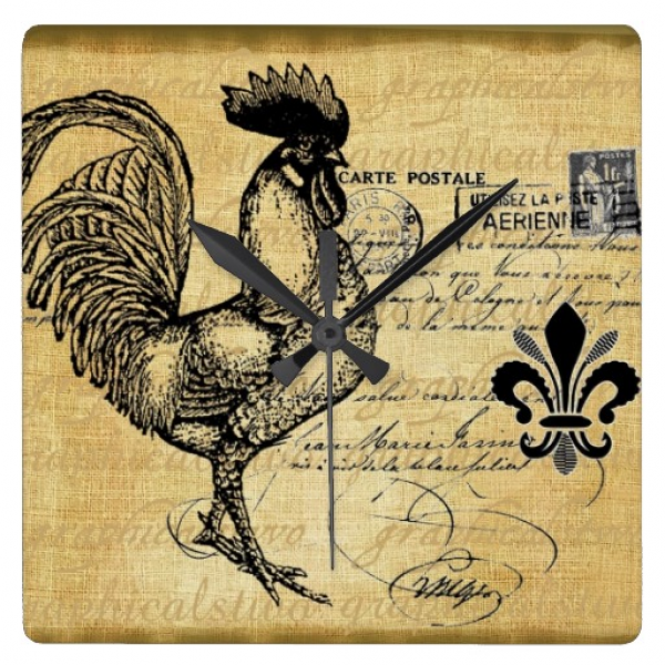 Vintage French Rooster On Burlap Wall Clocks | Zazzle