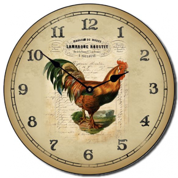 This French Rooster clock has a French advertisement scripted