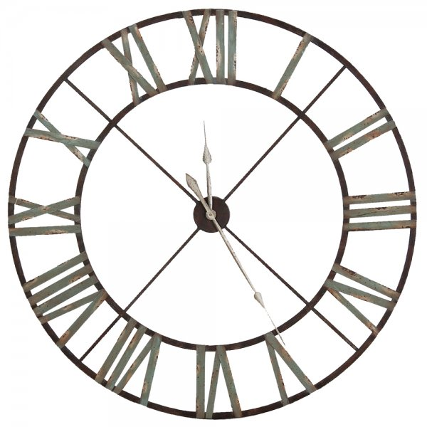 Large Iron Wall Clock | Indoor Roman Numerals Clock | Home Accessories