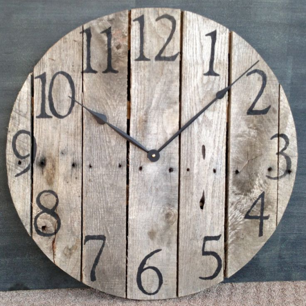 Large Rustic Pallet Wood Wall Clock. $100.00, via Etsy. I want this ...