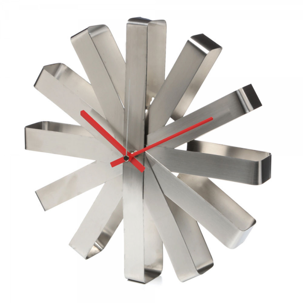 Umbra Ribbon Stainless Steel Wall Clock Art Contemporary Modern Home ...