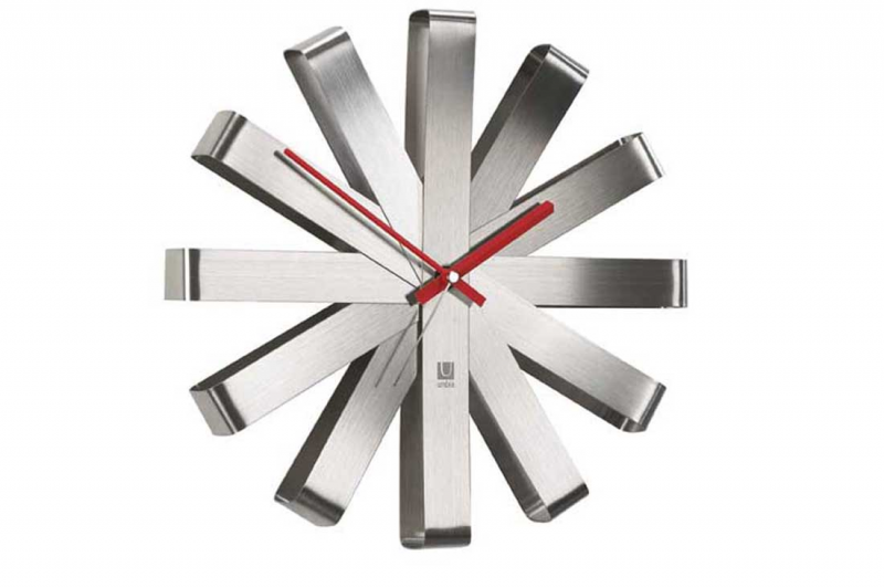 Umbra Modern Ribbon Stainless Steel Small Wall Clocks