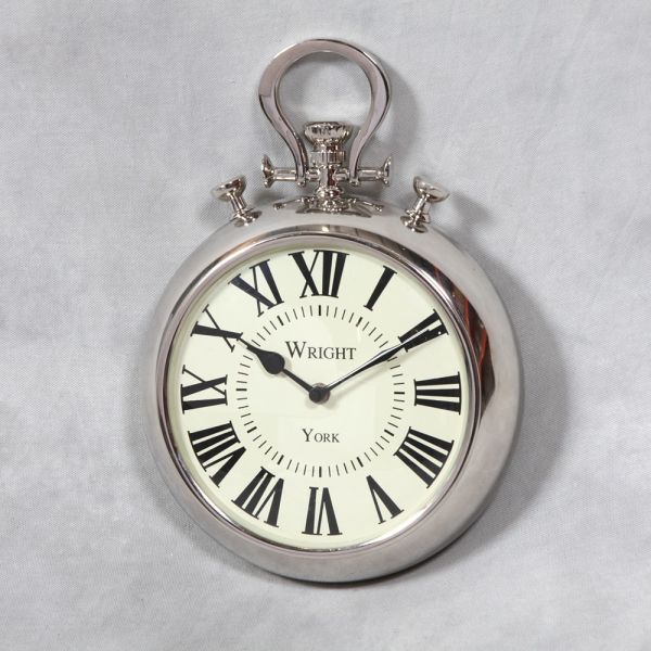 ... Plated Wrights of York Pocket Watch Wall Clock - Living Creations