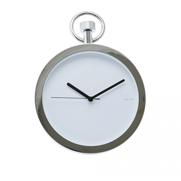 Little Black Bag | Chrome Pocket Watch Wall Clock by Present Time