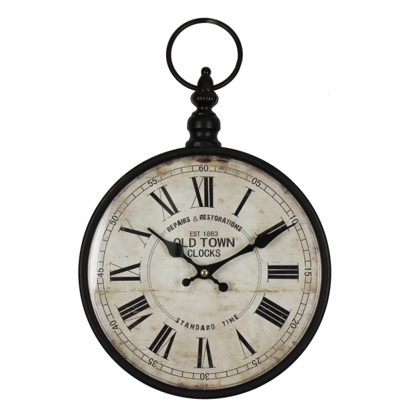 Hometime Metal Wall Clock Black Pocket Watch Design
