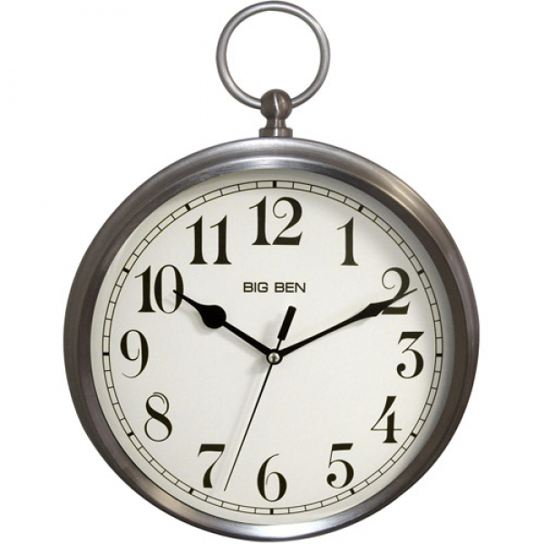 Better Homes and Gardens Pocket Watch Wall Clock, Brushed Nickel ...