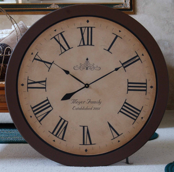 Large 36 inch Wall Clock Framed Antique Style by BigClockShop