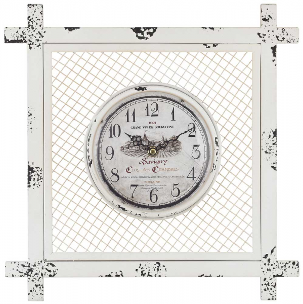 Vintage Style Wall Clock in Square Mesh by Sterling