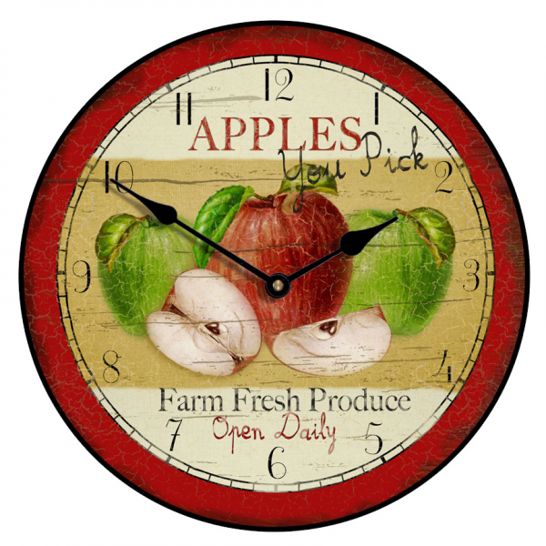 vintage apple clock 3 this vintage style apple clock with a print of ...