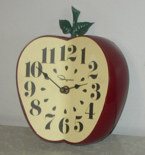 Vintage Ingraham Red Apple Clock by retroology on Etsy