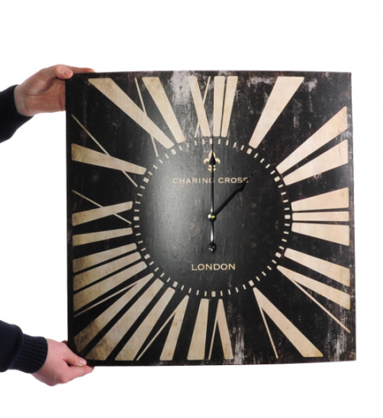 very unusual, square wall clock, hand made in metal, with a lovely ...