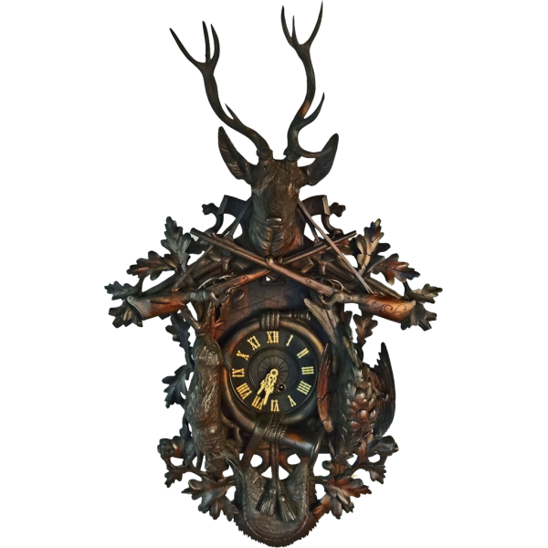 Antique Monumental 41 Black Forest Clock Hunt Theme - c. 19th from aa ...