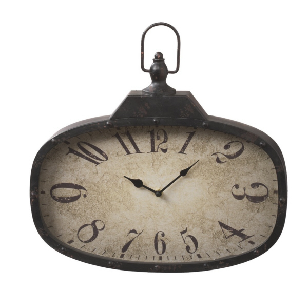 Vintage Distressed Black Pocket Watch Wall Clock.
