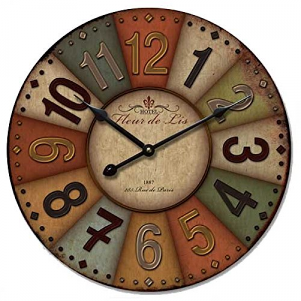 ... Paris Colourful French Country Tuscan Style Paris Wood Wall Clock E