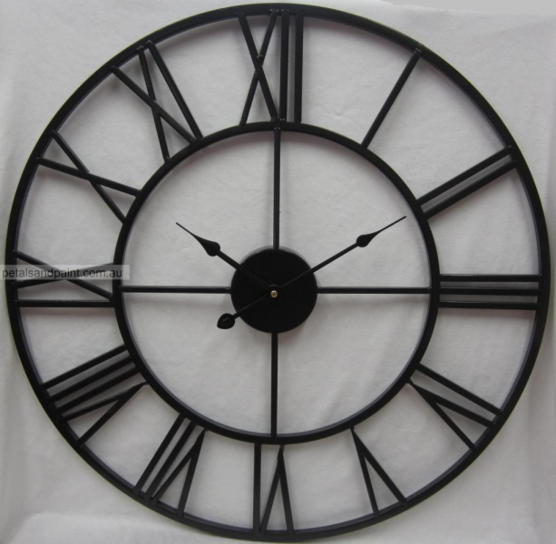 ... French Provincial Country Black Iron Wall Clock Roman Numerals BNIP