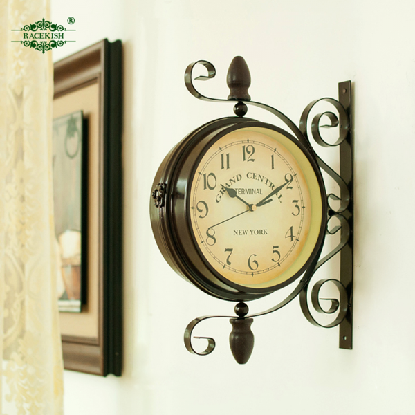 Vintage-double-faced-clock-fashion-american-rustic-wall-clock-wrought ...
