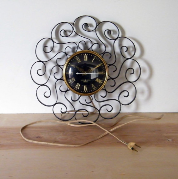 Vintage Wrought Iron Wall Clock by rovervintage on Etsy