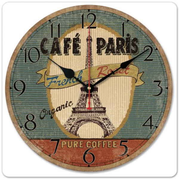 Paris French Eiffel Tower Retro Cafe Pure Coffee Wood Wall Clock ...