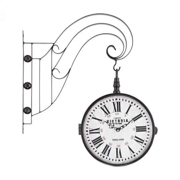 Double Sided Iron Scroll Wall Clock : 440EL | Light and Day Lighting
