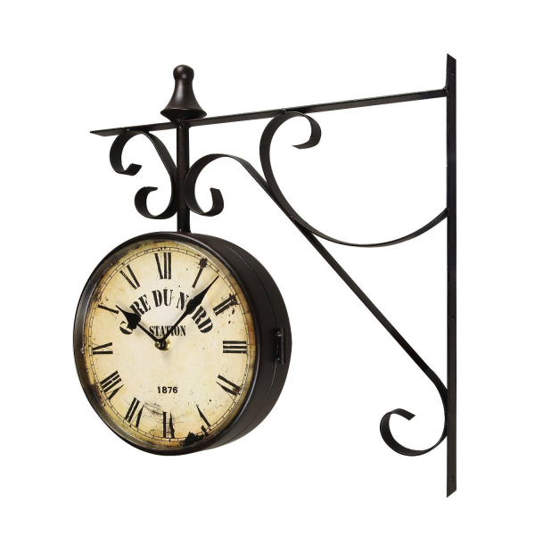 ... Vintage-Inspir ed Double-Sided Decorative Round Black Iron Wall Clock