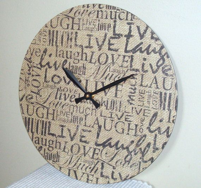 Burlap Wall Clock, Live Love Laugh Clock, 12 Inch Wall Clock, Shabby ...