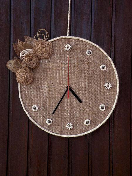 Wall clock Cottage Chic Wall Clock Home and Living Burlap Home Decor ...