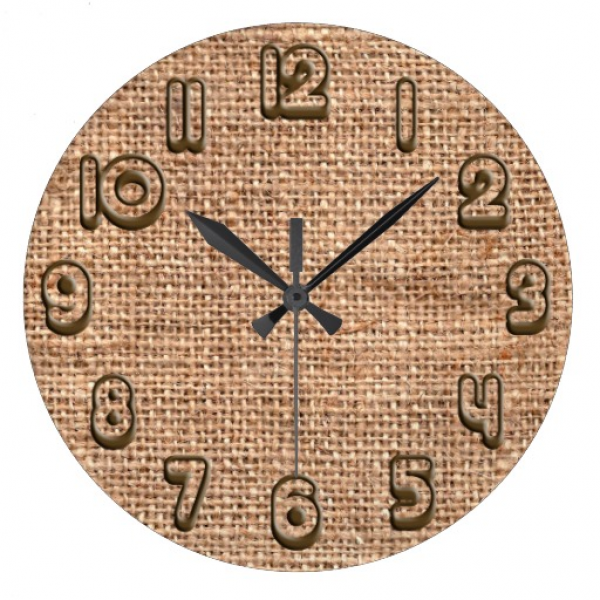 Brown Rustic Burlap Texture Wall Clocks | Zazzle