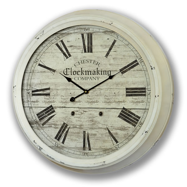 ... Cream Shabby Chic Distressed Vintage Chester Clock Makers Wall Clock