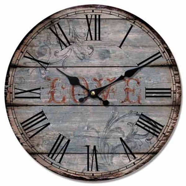 WALL CLOCK SHABBY CHIC DISTRESSED ROUND WOODEN PLANK LOVE/FLOWERS ...
