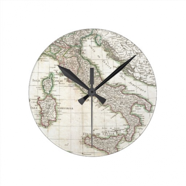 Vintage Map of Italy (1770) Wall Clock | Zazzle