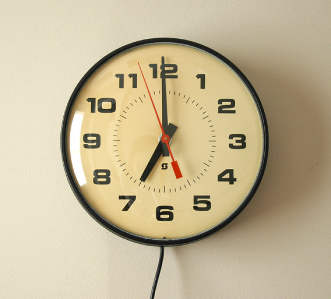 Vintage Industrial School Wall Clock Electric by by NoWorseForWear