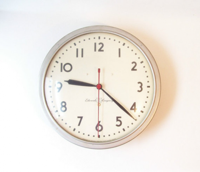 vintage wall clock industrial large wall clock round school clock ...