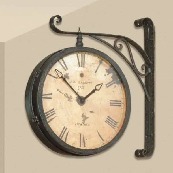 Other Brands Dark Antique Gold Double Sided Hanging Wall Clock - 20W ...
