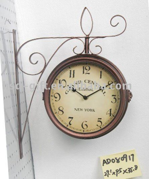 Double Sided Antique Wall Clock - Buy Antique Wall Clock,Metal Clock ...
