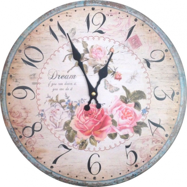 ... country shabby chic vintage cottage wall clock classic rose paris