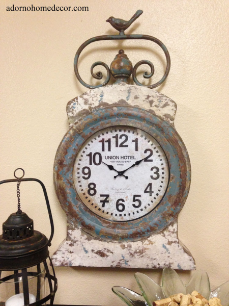 Round Wall Clock Rustic Decor Grand Hotel Vintage Cottage Antique ...