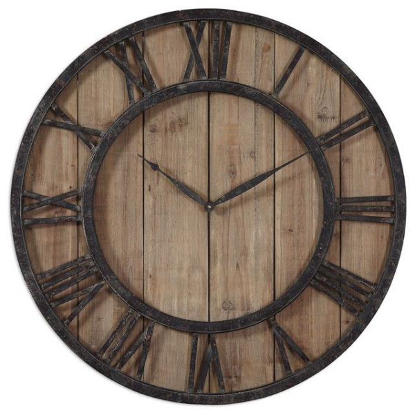 Rustic Wooden Roman Numeral Wall Clock | Ticking Away | Pinterest
