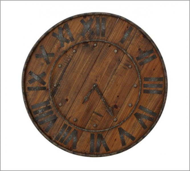 Rustic Wood & Iron Clock - Traditional - Clocks - by Pottery Barn