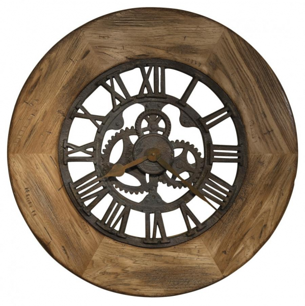 ... Oversized Gallery Wall Clock Distressed Rustic Wood Frame - CHM1810